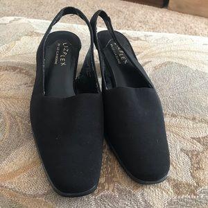 Liz Claiborne Shoes - Liz Flex by Liz Claiborne black textile slingbacks